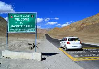 Magnetic Hill, Ladakh It is one of the most exciting sight of Ladakh situated at a height of 11000 feet above sea level. The hill is said to be magnetic as the cars and vehicles seems to be pulled towards the hill even when the ignition is off. This actually happens due to the optical illusion created by the layout of the slope.
