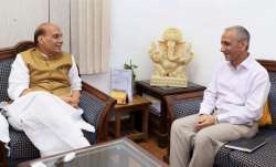Home Minister Rajnath Singh with former Director of Intelligence Bureau Dineshwar Sharma.