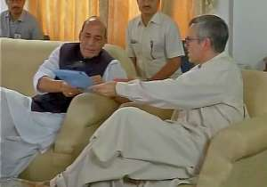 Omar Abdullah with Rajnath Singh- India Tv