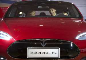 File Photo:Tesla Model S electric car on display - India Tv