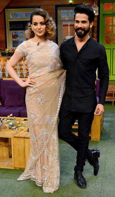 Kangana Ranaut looked dapper in saree while Shahid Kapoor rocked the show in his black attire