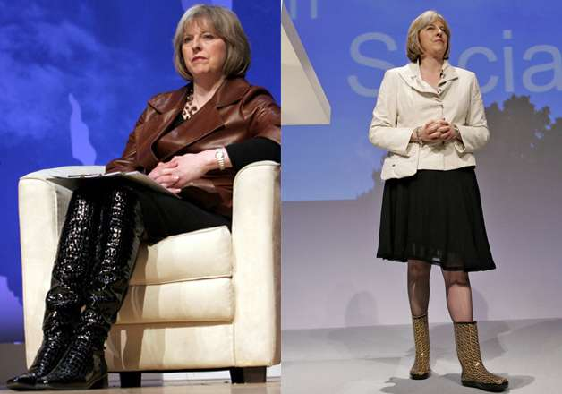 Shoes are the big deal for this new PM. She loves to flaunt her famous patent knee- high boots. She has even said that her shoes were the reason to get involved in politics.
