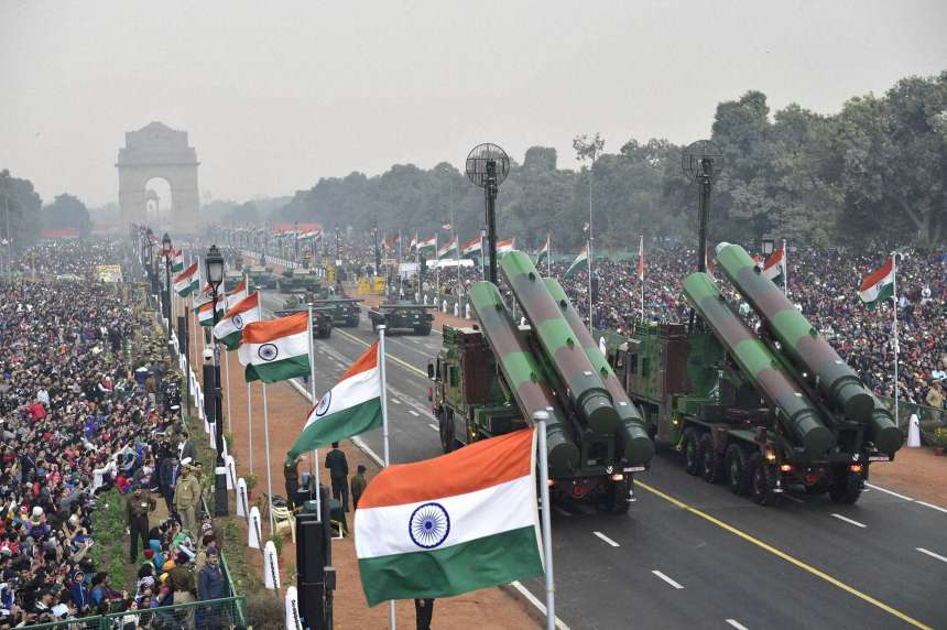 BRAHMOS and other mechanised columns rolling down the Rajpath during 68th Republic Day Parade.