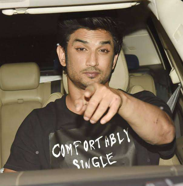 "Actor Sushant Singh Rajput went for a casual look and wore black. His shirt had a caption that said, ""Comfortably Single""."