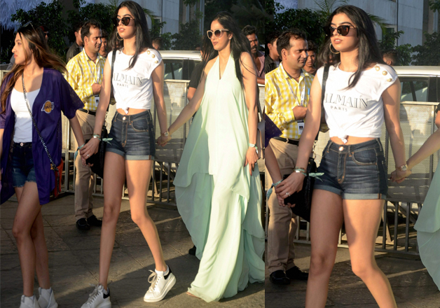 Bollywood actress Sridevi along with daughters arrives for the Justin Biebers concert at the DY Patil stadium Nerul in Mumbai on Wednesday.