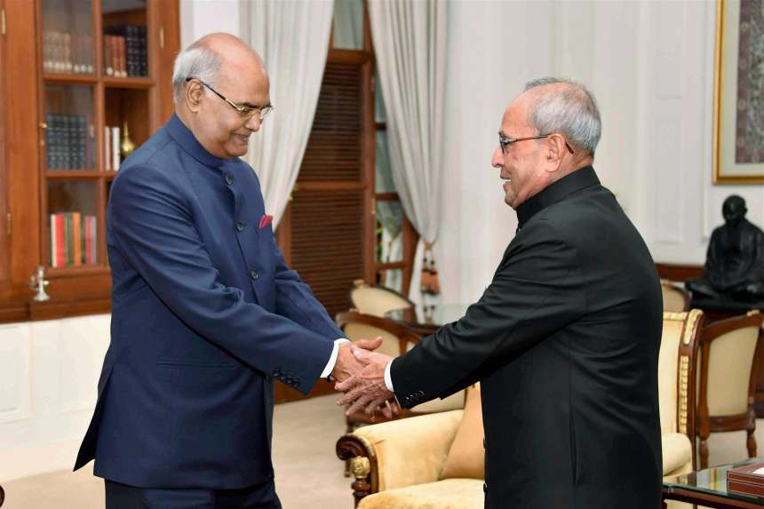 President Pranab Mukherjee greets President-elect Ram Nath Kovind at Rashtrapati Bhavan before the latter took oath as the 14th President of India