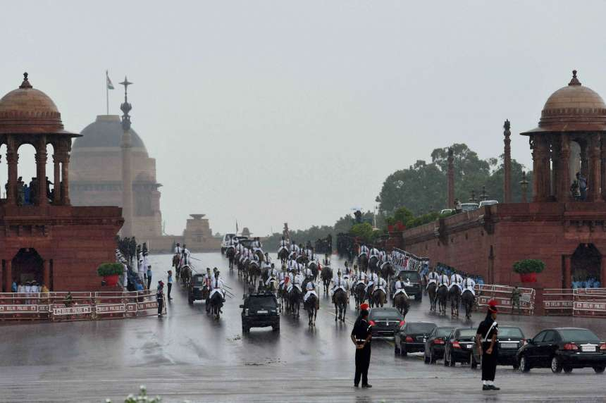 President's bodyguards escort President Ram Nath Kovind and his predecessor Pranab Mukherjee to Rashtrapati Bhawan after the former's swearing-in ceremony at Parliament