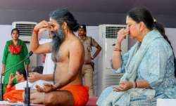 Yoga guru Ramdev and Rajasthan chief minister Vasundhara