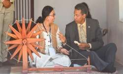 Seychelles President Danny Faure tries his hand on a
