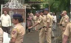 Visuals outside Pune court, where Sachin Andure was