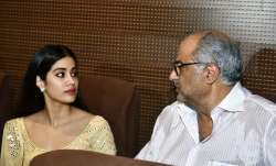 Boney Kapoor along with daughters Janhvi Kapoor and Khushi