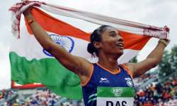 Hima Das during the final of the women's 400 m in The IAAF