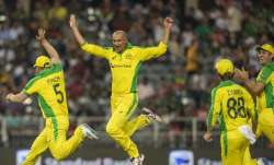 Australia's bowler Ashton Agar, second from left,