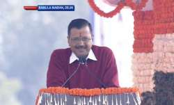 Arvind Kejriwal delivers a speech at Ramlila Maidan after