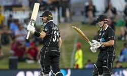 New Zealand's Martin Guptill celebrates his 50 runs during