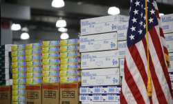 FILE - In this March 24, 2020, file photo stacks of medical supplies are housed at the Jacob Javits