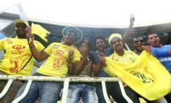 Chennai Super Kings fans during IPL 2014 in UAE