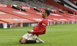 Manchester United's Mason Greenwood celebrates after
