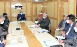 Himachal Pradesh Chief Minister Jai Ra Thakur during a COVID-19 review meeting.