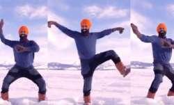 Canada man doing bhangra at frozen lake