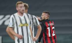 Inter Milan's Ante Rebic celebrates after scoring during