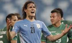 Uruguay's Edinson Cavani gestures during a Copa America