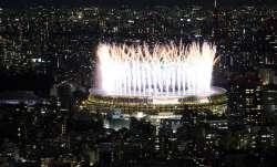 Fireworks illuminate over the National Stadium