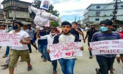 Cachar: Locals carry an effigy of Mizoram Chief Minister