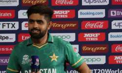 Pakistan's captain Babar Azam speaks after the presentation ceremony after winning the Cricket Twent