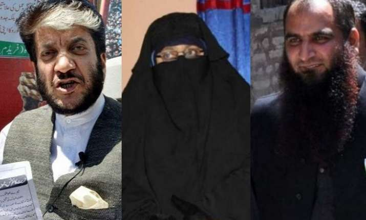 Dukhtaran-e-Millat chief Asiya Andrabi (centre) and