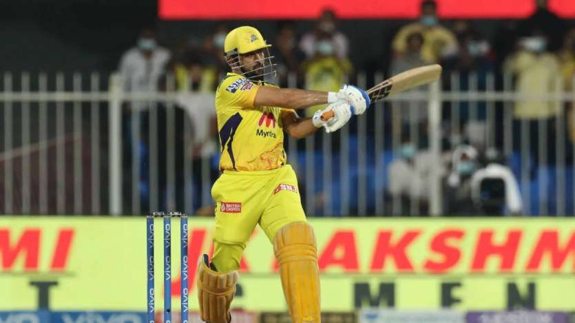 MS Dhoni finished off the chase with a huge six over deep mid-wicket off Siddharth Kaul in the final over to seal a playoff spot for his team Image Source : iplt20.com