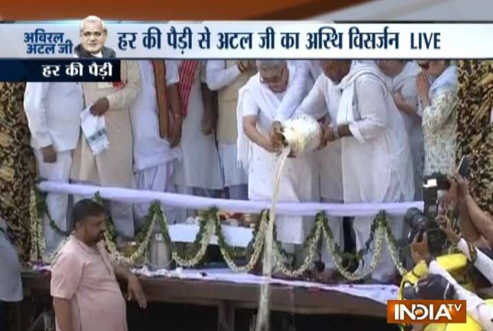 Former PM's daughter Namita immerses his ashes into River Ganges