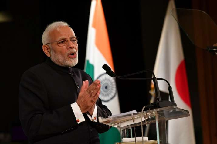 PM Modi addressing Indian and Japanese business leaders in