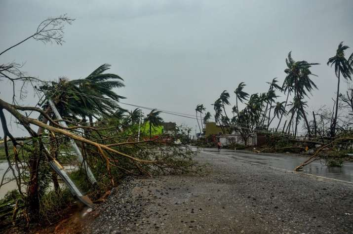 A view of the destruction caused by Cyclone Fani after